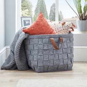 Grey Felt Storage Basket with Leather Handle