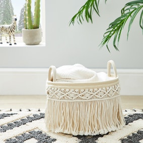 Macrame Cream Storage Basket