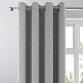 Jasper Grey Geometric Blackout Eyelet Curtains