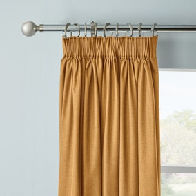 Arizona Mustard Blackout Pencil Pleat Curtains