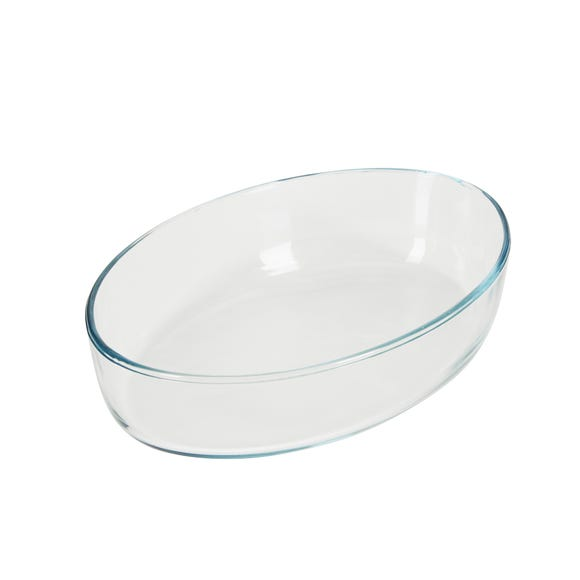 Dunelm 1.5L Oval Oven Roasting Dish Clear