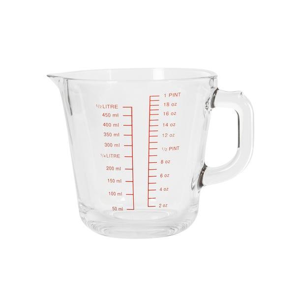 Dunelm glass measuring jug 500ml Clear