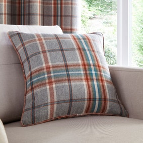 Melrose Woven Check Teal Cushion