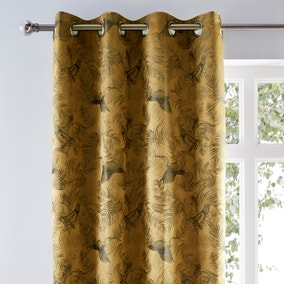 Crane Old Gold Woven Eyelet Curtains