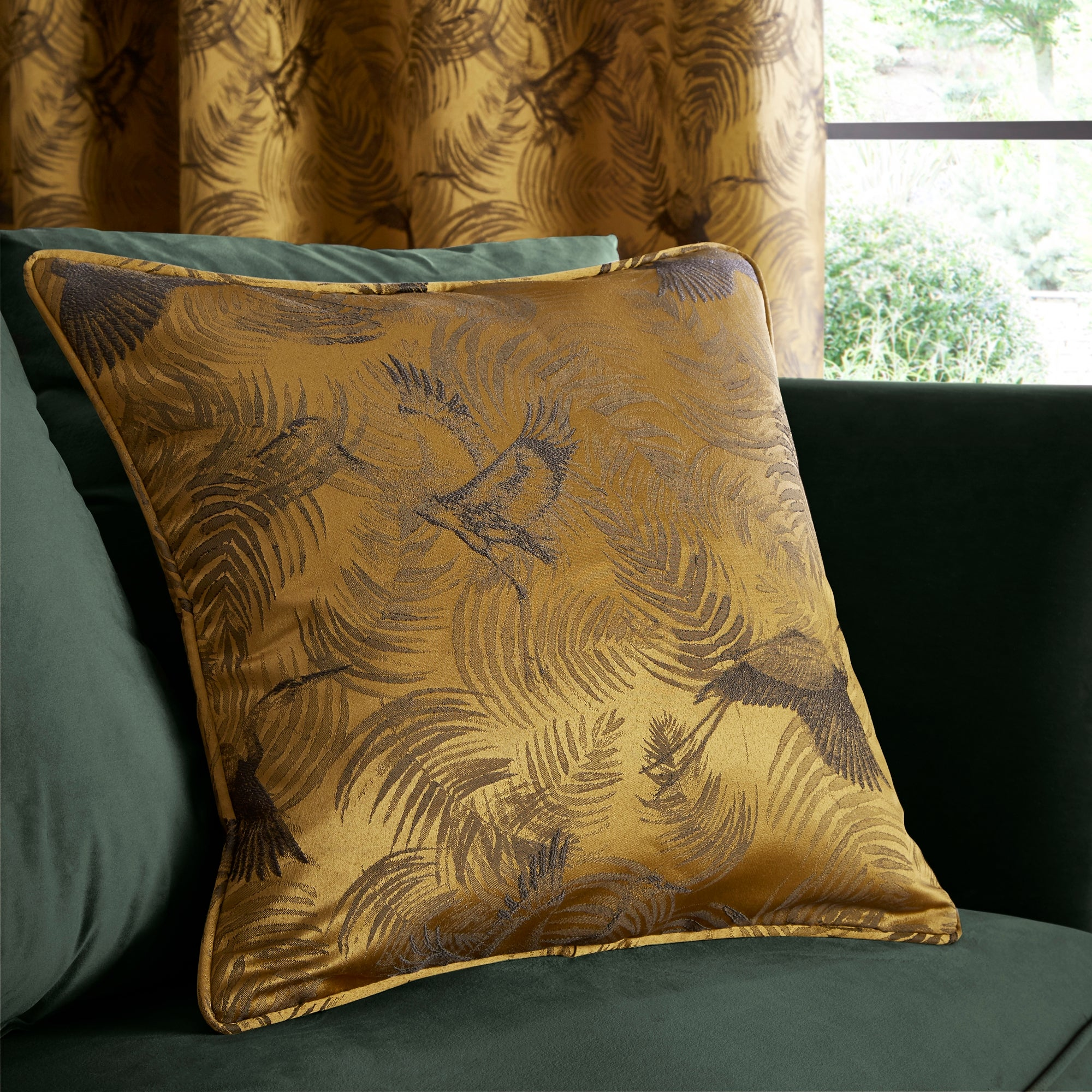 Click to view product details and reviews for Crane Old Gold Woven Cushion Gold And Brown.