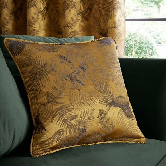 Crane Old Gold Woven Cushion Old Gold