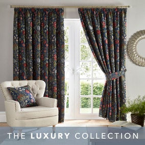 Betsy Chenille Jacquard Navy Pencil Pleat Curtains