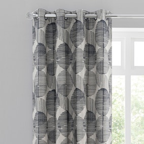 Elements Runda Jacquard Navy Eyelet Curtains