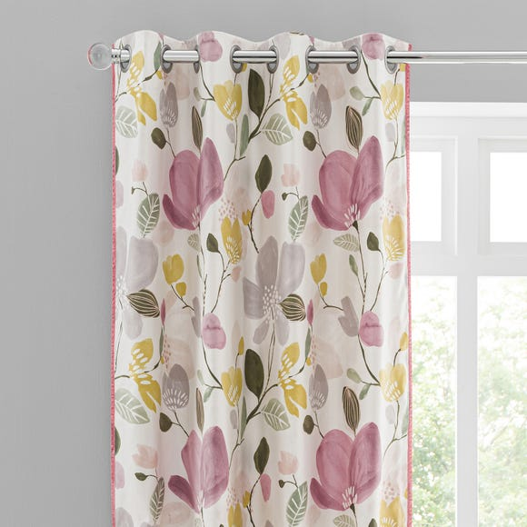 Ida Floral Pink Eyelet Curtains  undefined