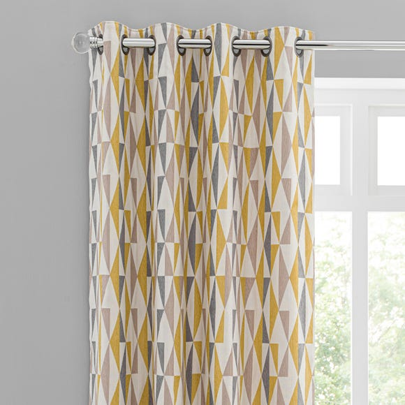 Triangle Chenille Jacquard Eyelet Curtains Ochre undefined