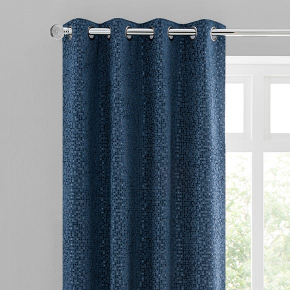 Chenille Spot Blue Eyelet Curtains  undefined