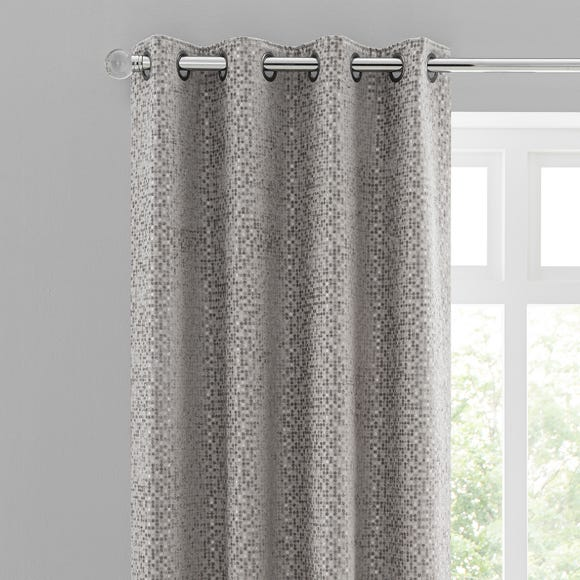 Chenille Spot Grey Eyelet Curtains  undefined