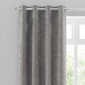 Abstract Chenille Dove Grey Eyelet Curtains