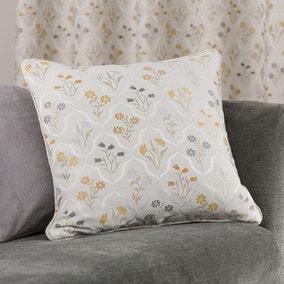 Fleur Floral Jacquard Ochre Cushion