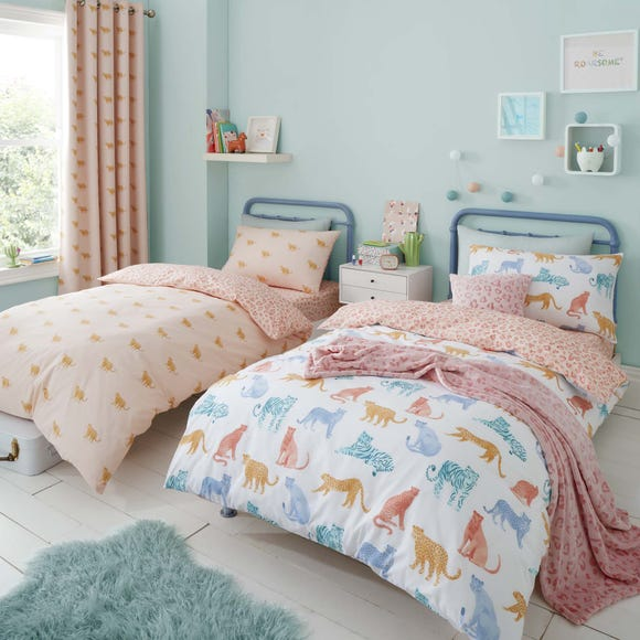 Big Cats Reversible Twin Pack Duvet Cover and Pillowcase Set Pink undefined