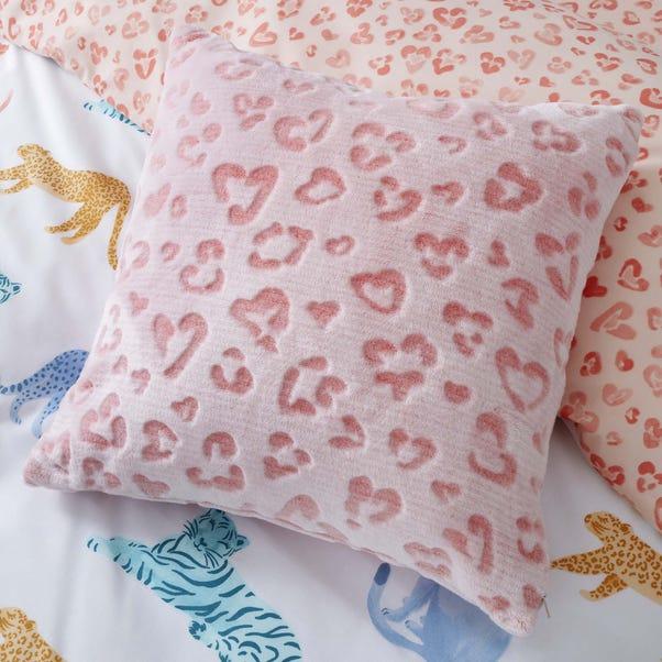 Big Cats Pink Leopard Print Faux Fur Cushion Pink