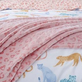 Big Cats Pink Leopard Print Faux Fur Throw