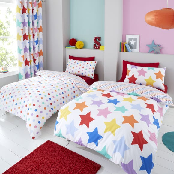 Brights Stars and Spots Twin Pack Duvet Cover and Pillowcase Set MultiColoured undefined