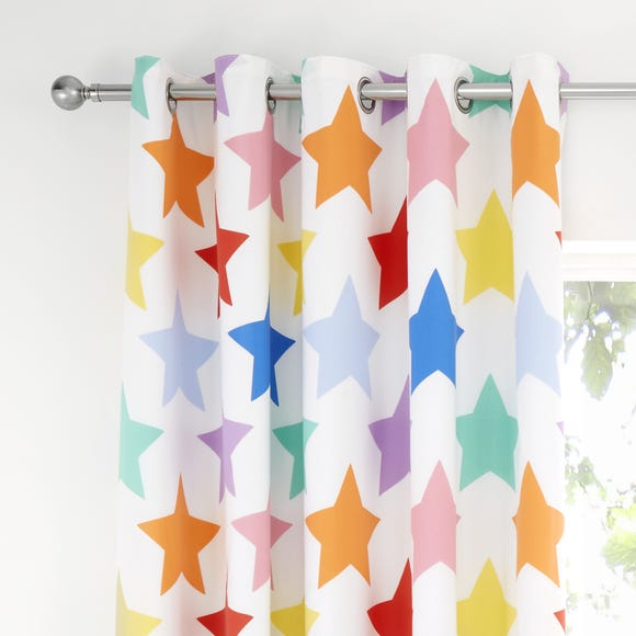 Brights Stars Eyelet Blackout Curtains MultiColoured undefined