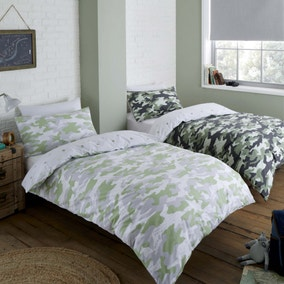 Camouflage Green Reversible Twin Pack Duvet Cover and Pillowcase Set