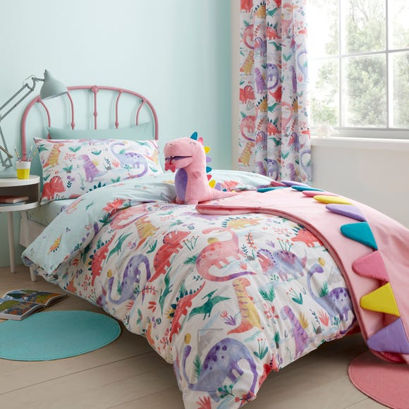 Dinosaur Pink Reversible Duvet Cover and Pillowcase Set Pink undefined