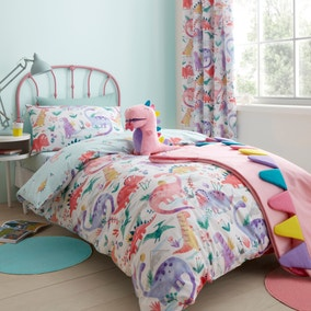 Dinosaur Pink Reversible Duvet Cover and Pillowcase Set