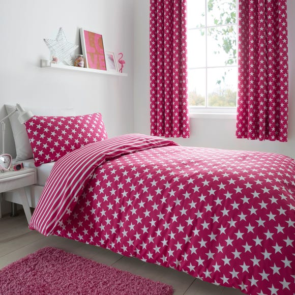 Pink Stars & Stripes Duvet Cover and Pillowcase Set Pink undefined