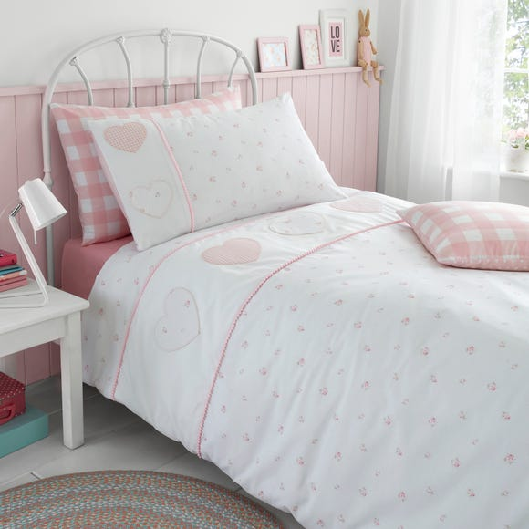 Patchwork Hearts Duvet Cover and Pillowcase Set Pink undefined