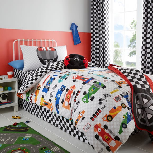 Racing Cars Duvet Cover and Pillowcase Set Red undefined