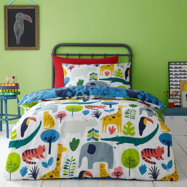 Elements Jungle 100% Cotton Reversible Duvet Cover and Pillowcase Set MultiColoured undefined