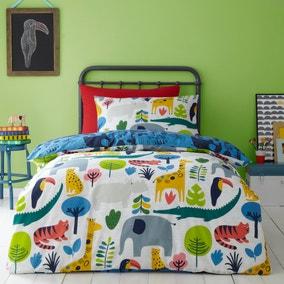 Elements Jungle 100% Cotton Reversible Duvet Cover and Pillowcase Set
