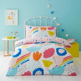 Elements Floral 100% Cotton Reversible Duvet Cover and Pillowcase Set