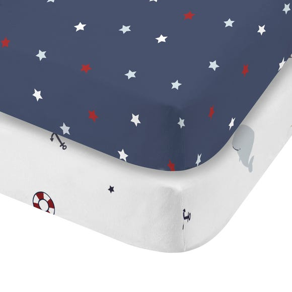 Plain Sailing 100% Cotton Twin Pack Fitted Sheets  undefined