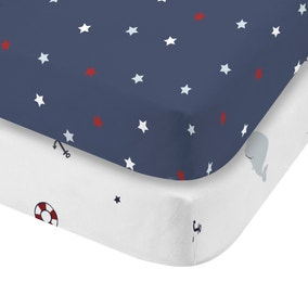 Plain Sailing 100% Cotton Twin Pack Fitted Sheets