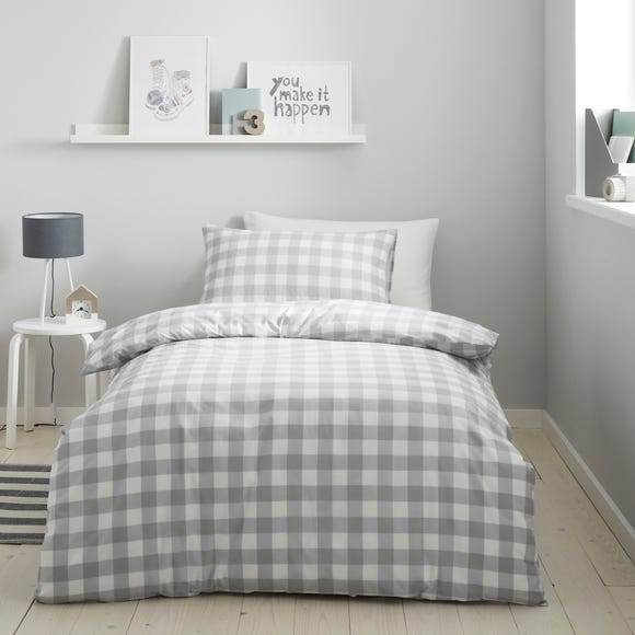 Gingham Grey Duvet Cover and Pillowcase Set  undefined