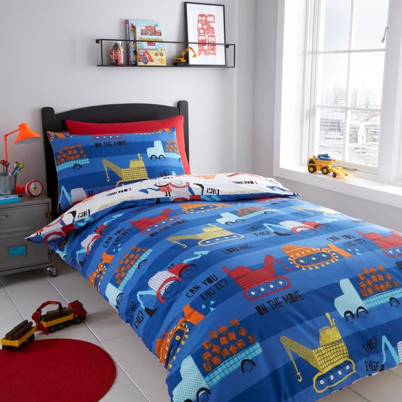 Diggers Reversible Duvet Cover and Pillowcase Set  undefined
