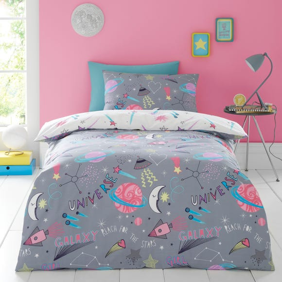 Cosmic Reversible Duvet Cover and Pillowcase Set Pink undefined