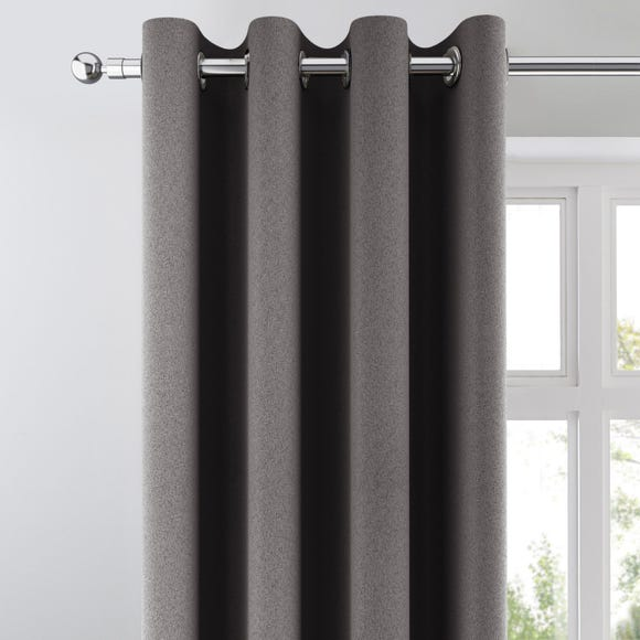 Chicago Charcoal Jacquard Blackout Eyelet Curtains Charcoal undefined