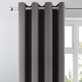 Chicago Charcoal Jacquard Blackout Eyelet Curtains
