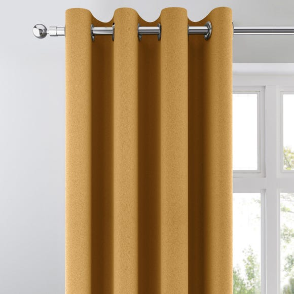 Chicago Old Gold Jacquard Blackout Eyelet Curtains Gold undefined