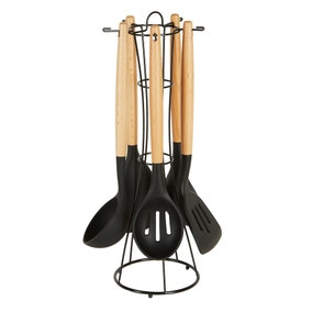 Black Silicone and Wooden Kitchen Utensils Set