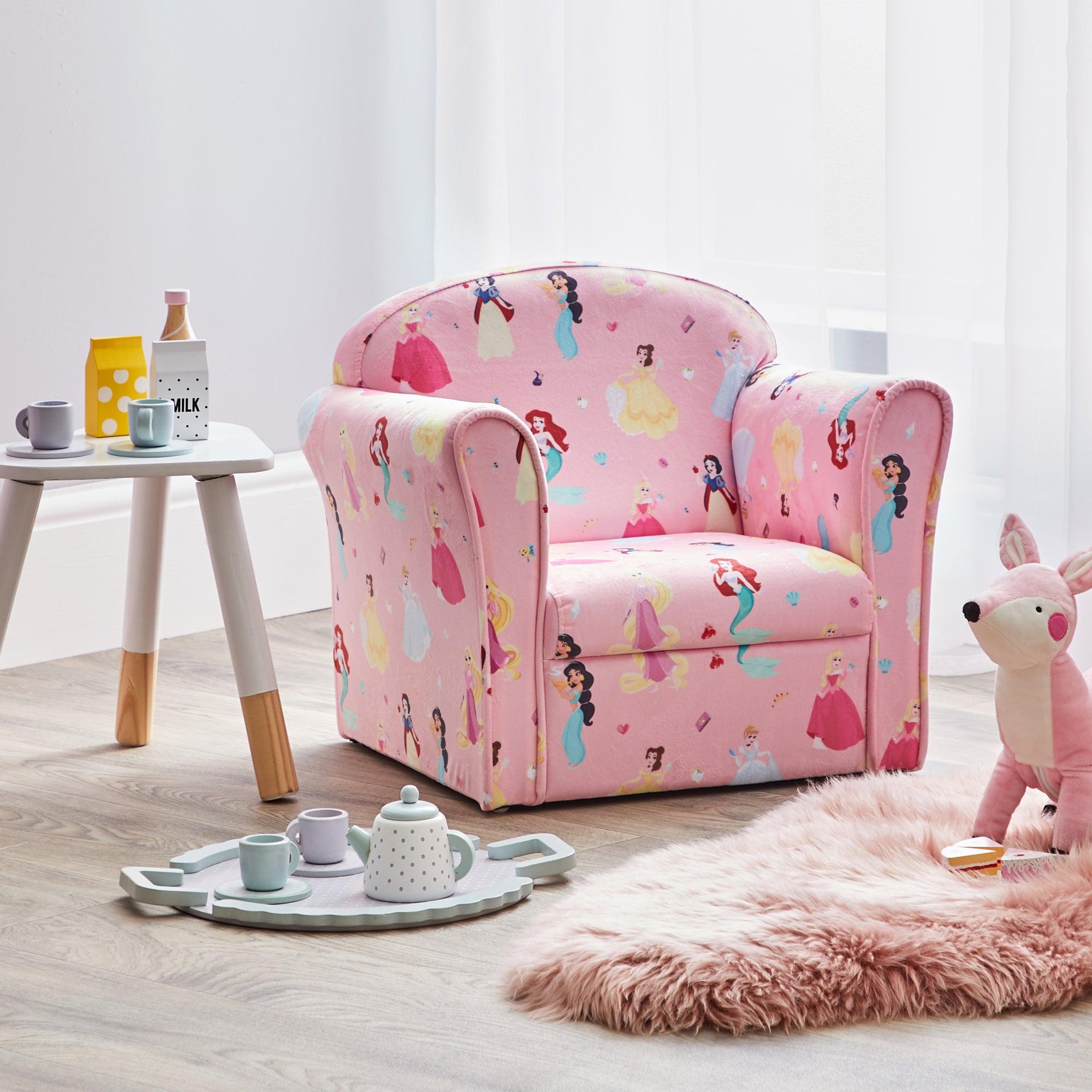 Kids Pink Disney Princess Armchair Pink, Blue and Yellow