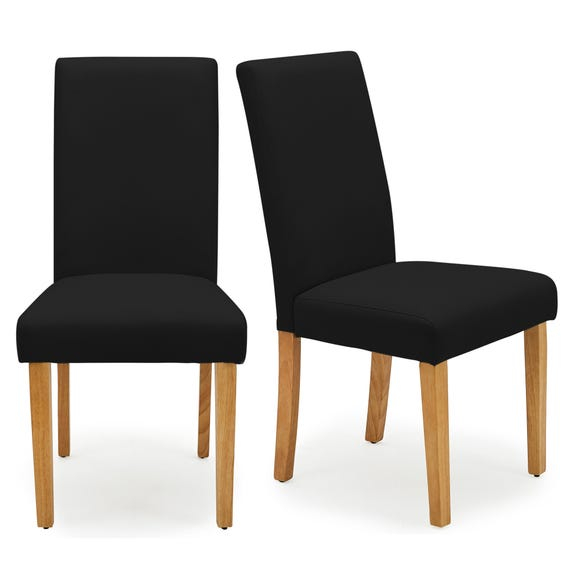 Hugo Set of 2 Dining Chairs Black PU Leather
