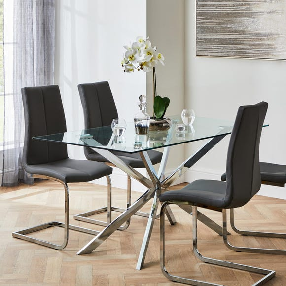 Jamison Set of 2 Dining Chairs Grey PU Leather