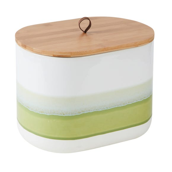 Green Reactive Glaze Bread Bin Green