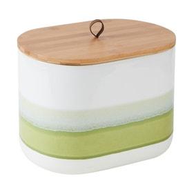 Green Reactive Glaze Bread Bin