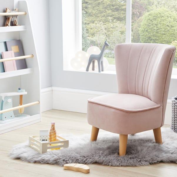 Kids Miniature Isla Velvet Cocktail Chair - Blush Blush (Pink)