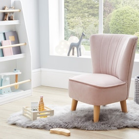 Kids Miniature Eva Velvet Cocktail Chair - Blush