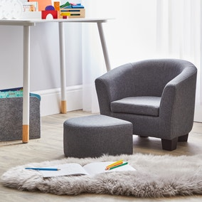 Kids Grey Linen Armchair and Footstool