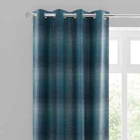Ombre Check Teal Eyelet Curtains